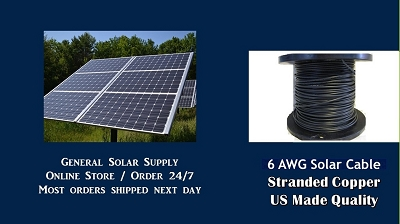 BULK SOLAR CABLE 6awg LOW PRICE HEAVY SOLAR PV Wire FREE SHIP 50 ft