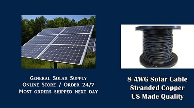 Bulk Solar Cable 1000 feet 8AWG Made in US General Solar Supply PV Cable