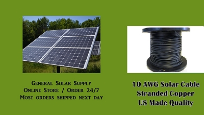 Bulk Solar PV Cable 200 feet 10AWG  Made in US