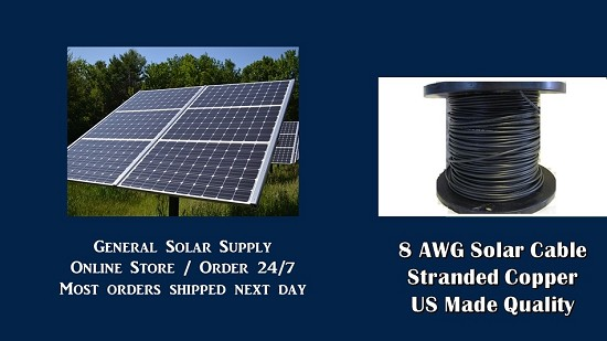 Bulk Solar Cable 25 feet 8AWG Made in US