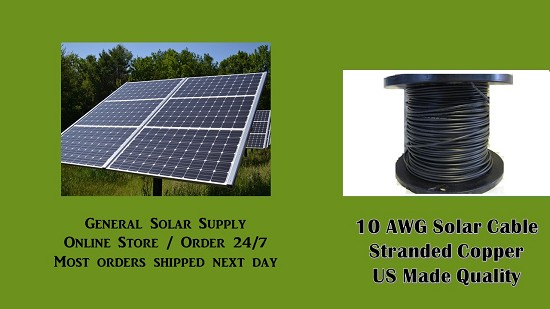 Bulk Solar PV Cable 25 feet 10AWG  Made in US